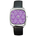 DAMASK1 WHITE MARBLE & PURPLE DENIM Square Metal Watch Front