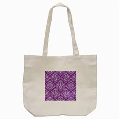Damask1 White Marble & Purple Denim Tote Bag (cream)