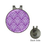 DAMASK1 WHITE MARBLE & PURPLE DENIM Hat Clips with Golf Markers Front
