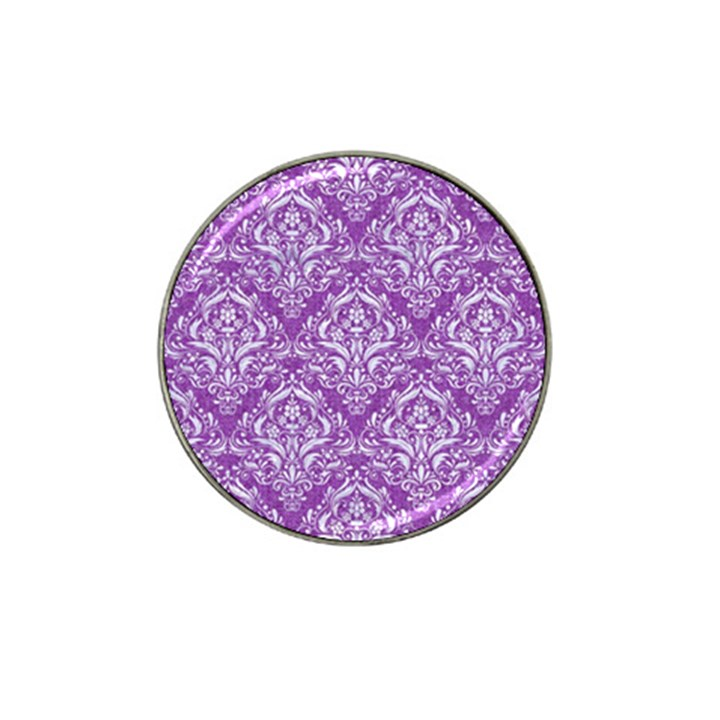 DAMASK1 WHITE MARBLE & PURPLE DENIM Hat Clip Ball Marker (4 pack)