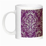 DAMASK1 WHITE MARBLE & PURPLE DENIM Night Luminous Mugs Left