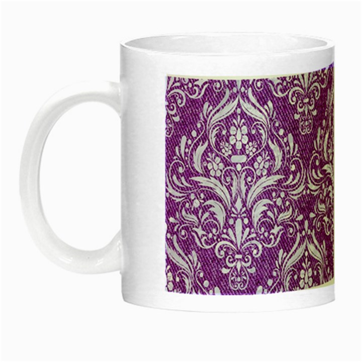 DAMASK1 WHITE MARBLE & PURPLE DENIM Night Luminous Mugs