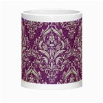 DAMASK1 WHITE MARBLE & PURPLE DENIM Night Luminous Mugs Center