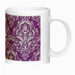 DAMASK1 WHITE MARBLE & PURPLE DENIM Night Luminous Mugs Right