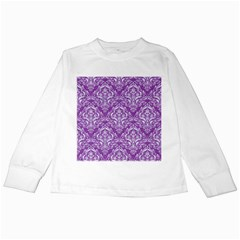 Damask1 White Marble & Purple Denim Kids Long Sleeve T Shirts