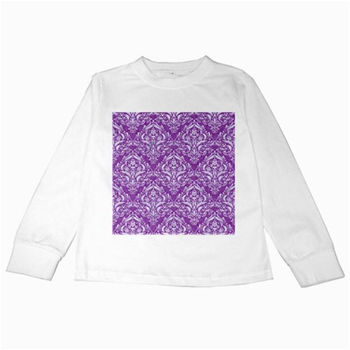 DAMASK1 WHITE MARBLE & PURPLE DENIM Kids Long Sleeve T-Shirts