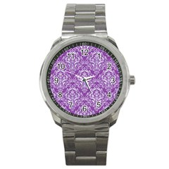 Damask1 White Marble & Purple Denim Sport Metal Watch
