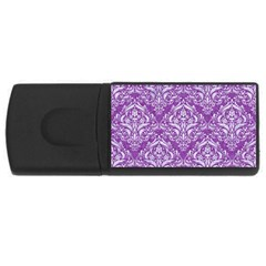 Damask1 White Marble & Purple Denim Rectangular Usb Flash Drive