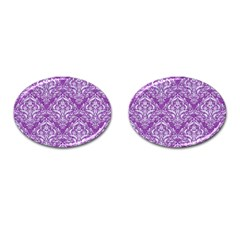 Damask1 White Marble & Purple Denim Cufflinks (oval)