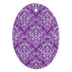 Damask1 White Marble & Purple Denim Oval Ornament (two Sides)