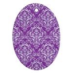 DAMASK1 WHITE MARBLE & PURPLE DENIM Oval Ornament (Two Sides) Back