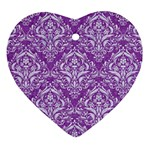 DAMASK1 WHITE MARBLE & PURPLE DENIM Heart Ornament (Two Sides) Front