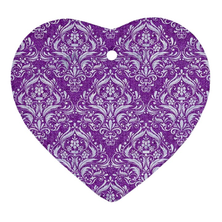 DAMASK1 WHITE MARBLE & PURPLE DENIM Heart Ornament (Two Sides)