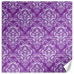 Damask1 White Marble & Purple Denim Canvas 16  X 16