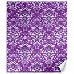 Damask1 White Marble & Purple Denim Canvas 20  X 24