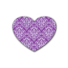 Damask1 White Marble & Purple Denim Rubber Coaster (heart)