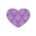 DAMASK1 WHITE MARBLE & PURPLE DENIM Rubber Coaster (Heart)  Front