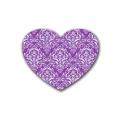 Damask1 White Marble & Purple Denim Heart Coaster (4 Pack)