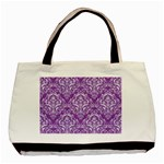 DAMASK1 WHITE MARBLE & PURPLE DENIM Basic Tote Bag (Two Sides) Front