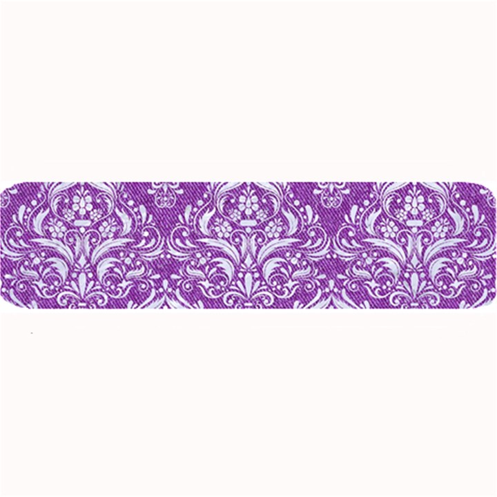 DAMASK1 WHITE MARBLE & PURPLE DENIM Large Bar Mats
