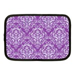 DAMASK1 WHITE MARBLE & PURPLE DENIM Netbook Case (Medium)  Front