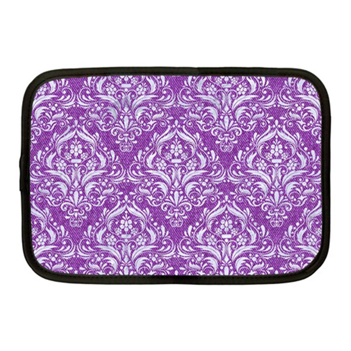 DAMASK1 WHITE MARBLE & PURPLE DENIM Netbook Case (Medium)