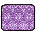 DAMASK1 WHITE MARBLE & PURPLE DENIM Netbook Case (Large) Front