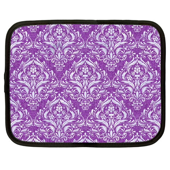 DAMASK1 WHITE MARBLE & PURPLE DENIM Netbook Case (Large)