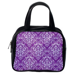 Damask1 White Marble & Purple Denim Classic Handbags (one Side)