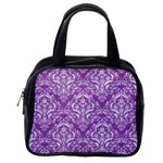 DAMASK1 WHITE MARBLE & PURPLE DENIM Classic Handbags (One Side) Front