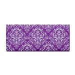 DAMASK1 WHITE MARBLE & PURPLE DENIM Cosmetic Storage Cases Front