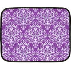 Damask1 White Marble & Purple Denim Fleece Blanket (mini)