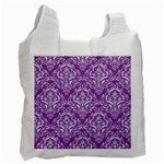 DAMASK1 WHITE MARBLE & PURPLE DENIM Recycle Bag (Two Side)  Front