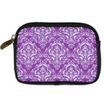 DAMASK1 WHITE MARBLE & PURPLE DENIM Digital Camera Cases Front