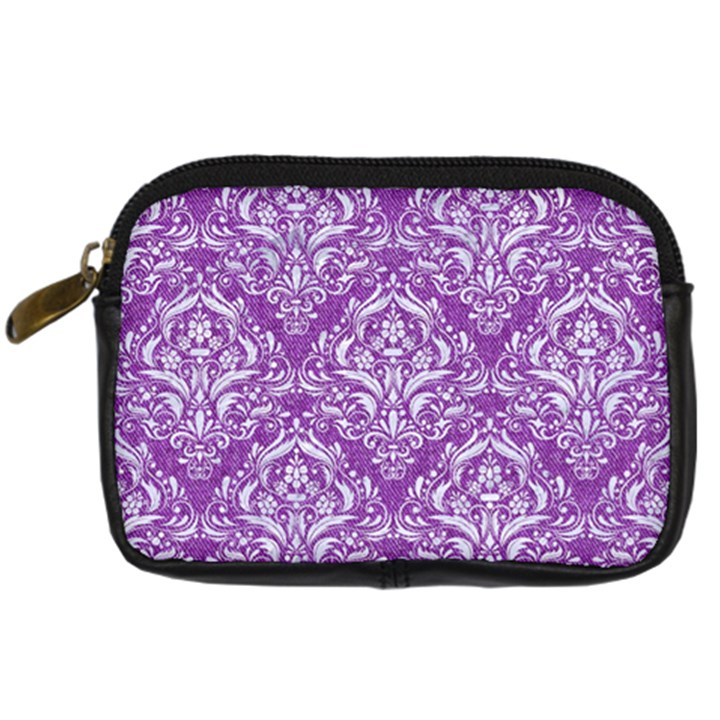 DAMASK1 WHITE MARBLE & PURPLE DENIM Digital Camera Cases