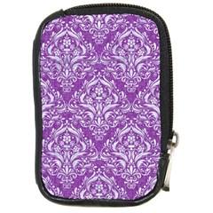 Damask1 White Marble & Purple Denim Compact Camera Cases