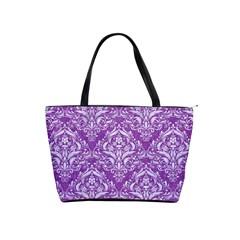 Damask1 White Marble & Purple Denim Shoulder Handbags