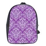 DAMASK1 WHITE MARBLE & PURPLE DENIM School Bag (Large) Front