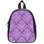DAMASK1 WHITE MARBLE & PURPLE DENIM School Bag (Small) Front