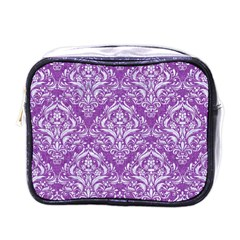 Damask1 White Marble & Purple Denim Mini Toiletries Bags