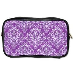 Damask1 White Marble & Purple Denim Toiletries Bags 2 Side