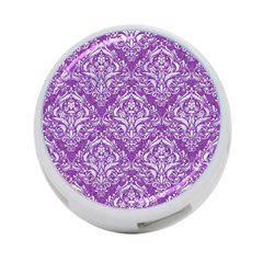 Damask1 White Marble & Purple Denim 4 Port Usb Hub (one Side) by trendistuff