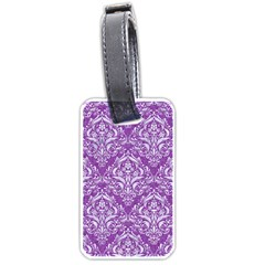 Damask1 White Marble & Purple Denim Luggage Tags (one Side)