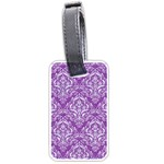DAMASK1 WHITE MARBLE & PURPLE DENIM Luggage Tags (Two Sides) Front