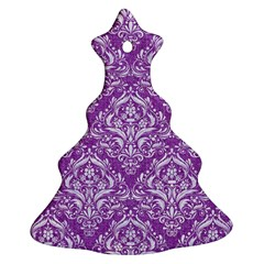 Damask1 White Marble & Purple Denim Ornament (christmas Tree)  by trendistuff