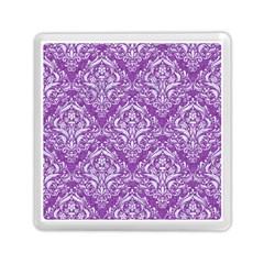 Damask1 White Marble & Purple Denim Memory Card Reader (square)  by trendistuff