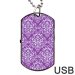 DAMASK1 WHITE MARBLE & PURPLE DENIM Dog Tag USB Flash (Two Sides) Front