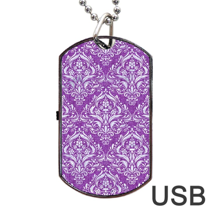DAMASK1 WHITE MARBLE & PURPLE DENIM Dog Tag USB Flash (Two Sides)