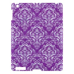 Damask1 White Marble & Purple Denim Apple Ipad 3/4 Hardshell Case