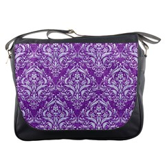 Damask1 White Marble & Purple Denim Messenger Bags